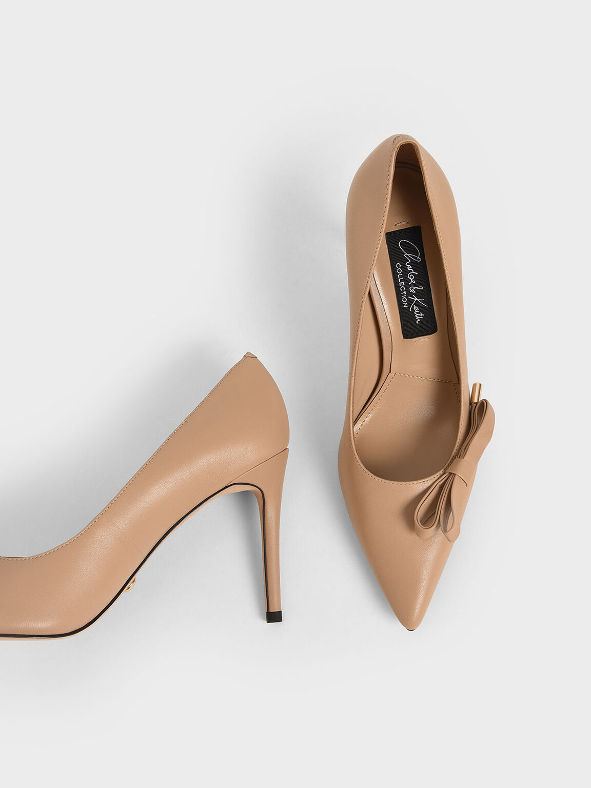 Leather Bow Stiletto Pumps, Nude, hi-res