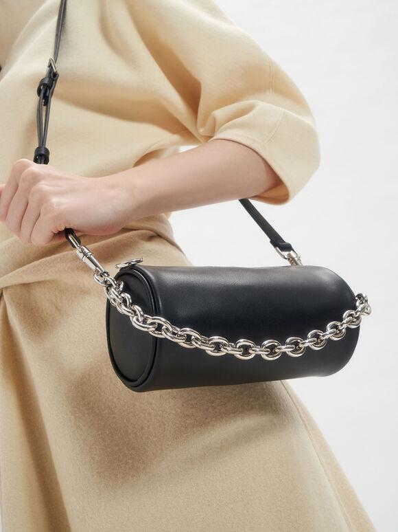 Chain Handle Crossbody Bag, Black, hi-res