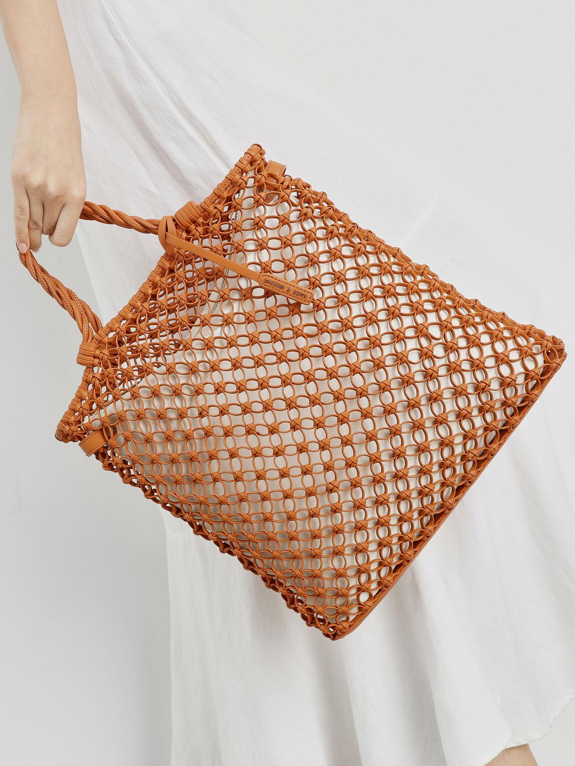 Knitted Tote Bag, Orange, hi-res