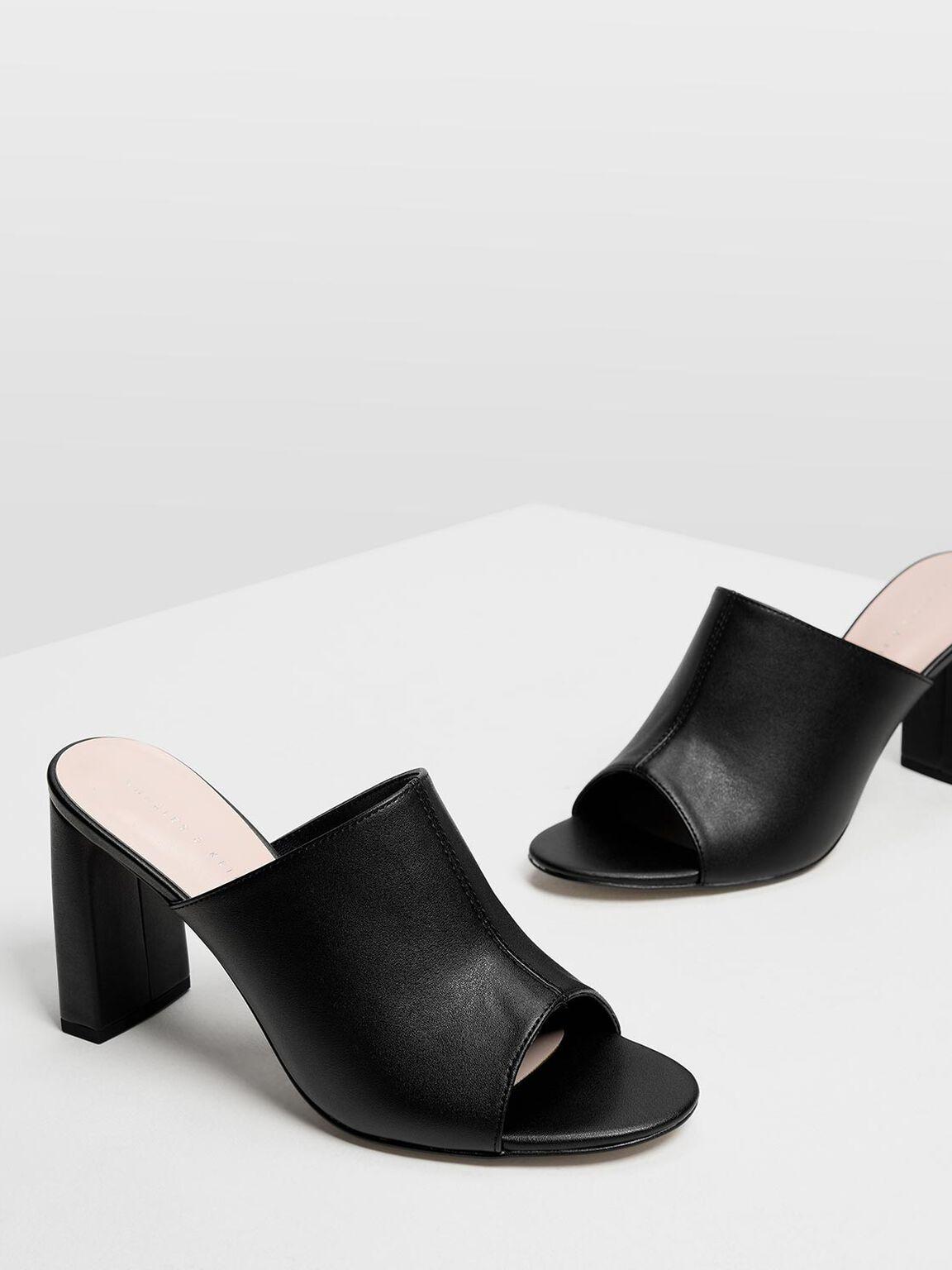 Block Heel Slide Sandals, Black, hi-res