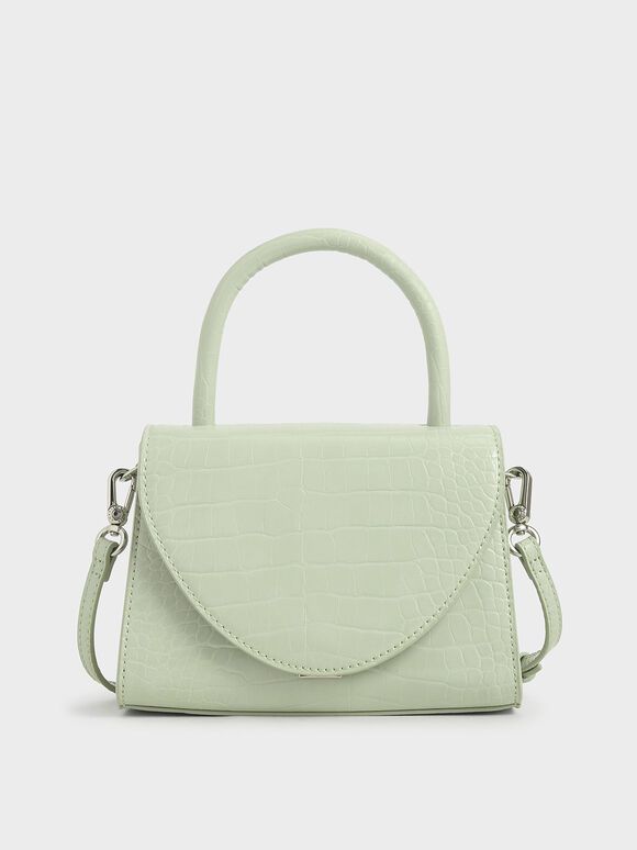 Croc-Effect Structured Top Handle Bag, Mint Green, hi-res