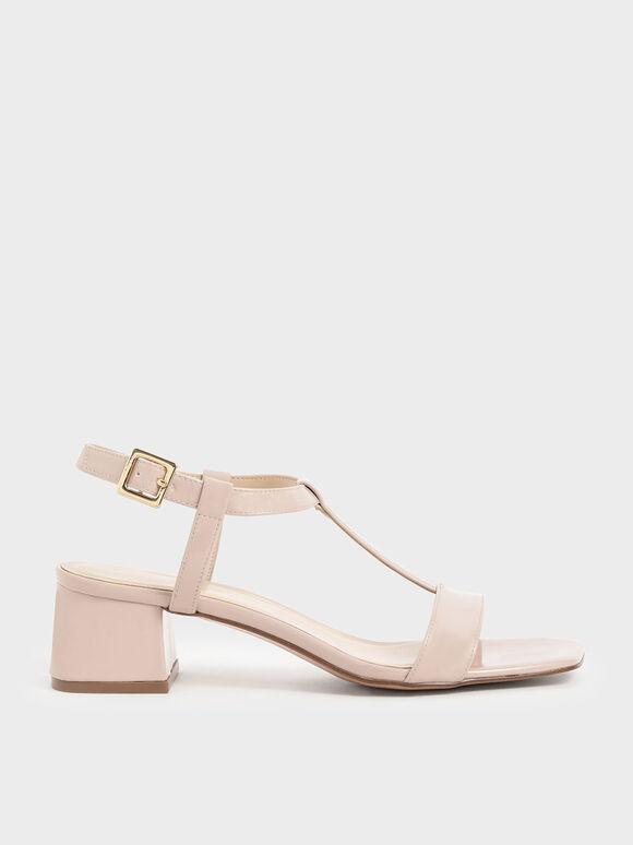 Patent T-Bar Block Heel Sandals, Nude, hi-res