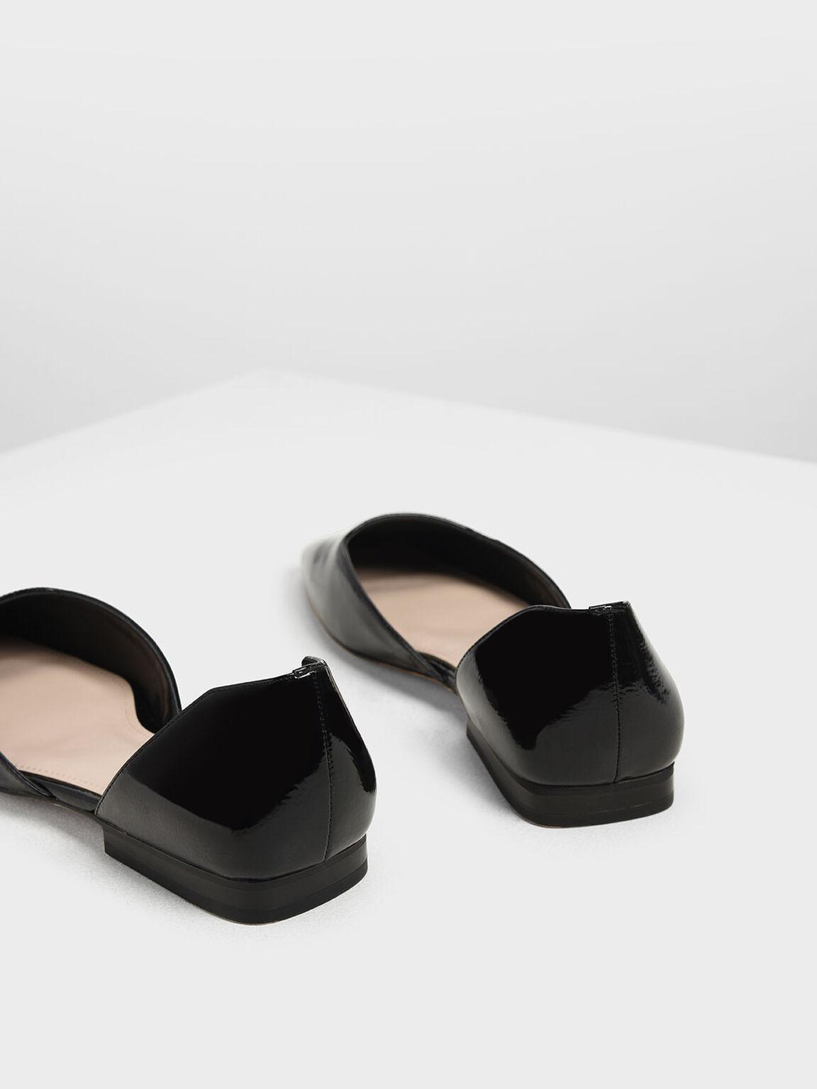Square Toe D'Orsay Flats, Black, hi-res