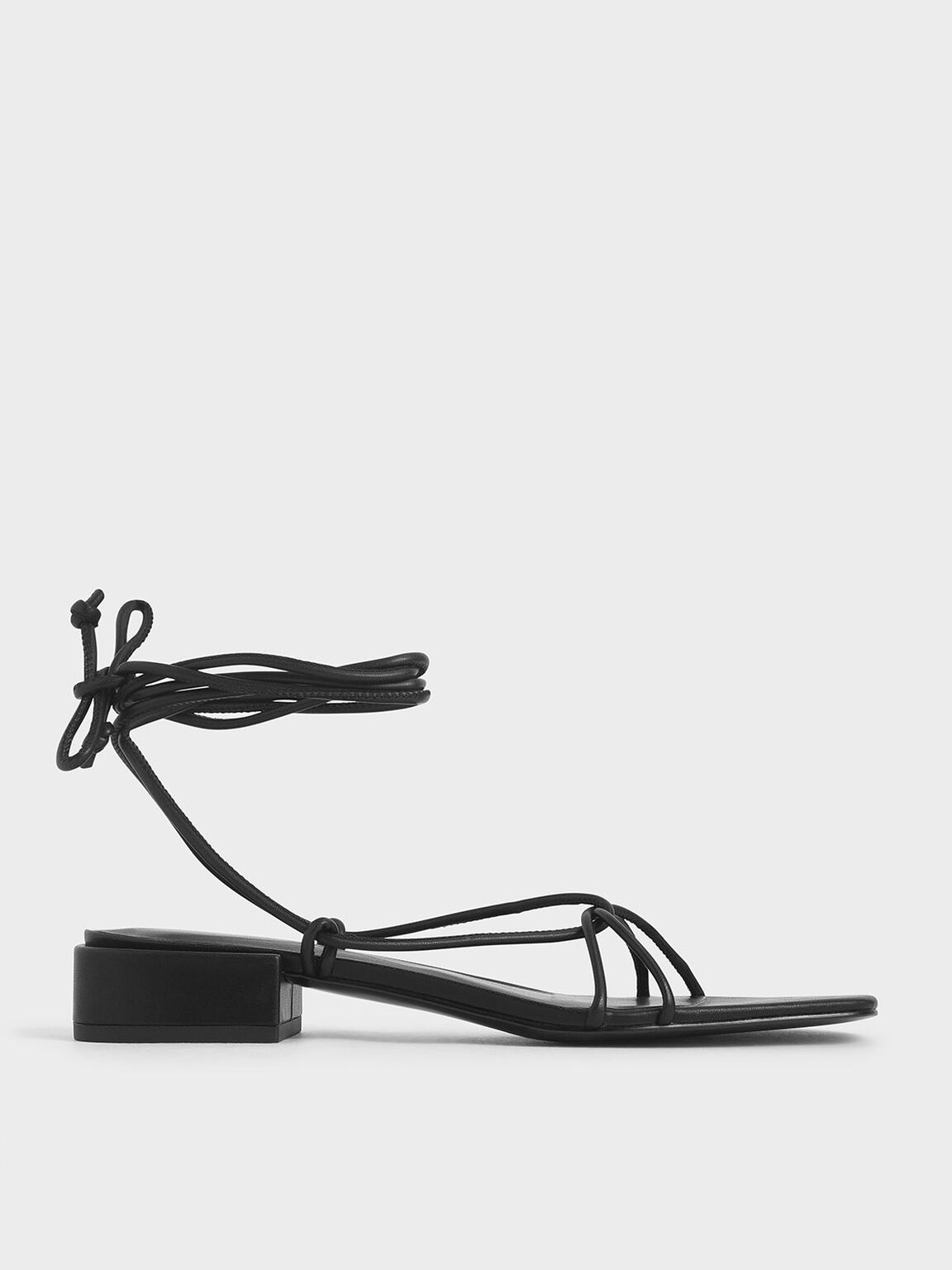 Strappy Ankle Tie Sandals, Black, hi-res