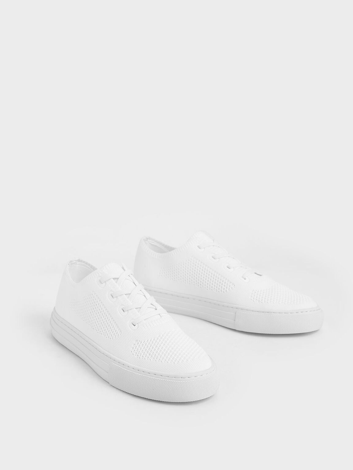 Knitted Lace-Up Sneakers, White, hi-res