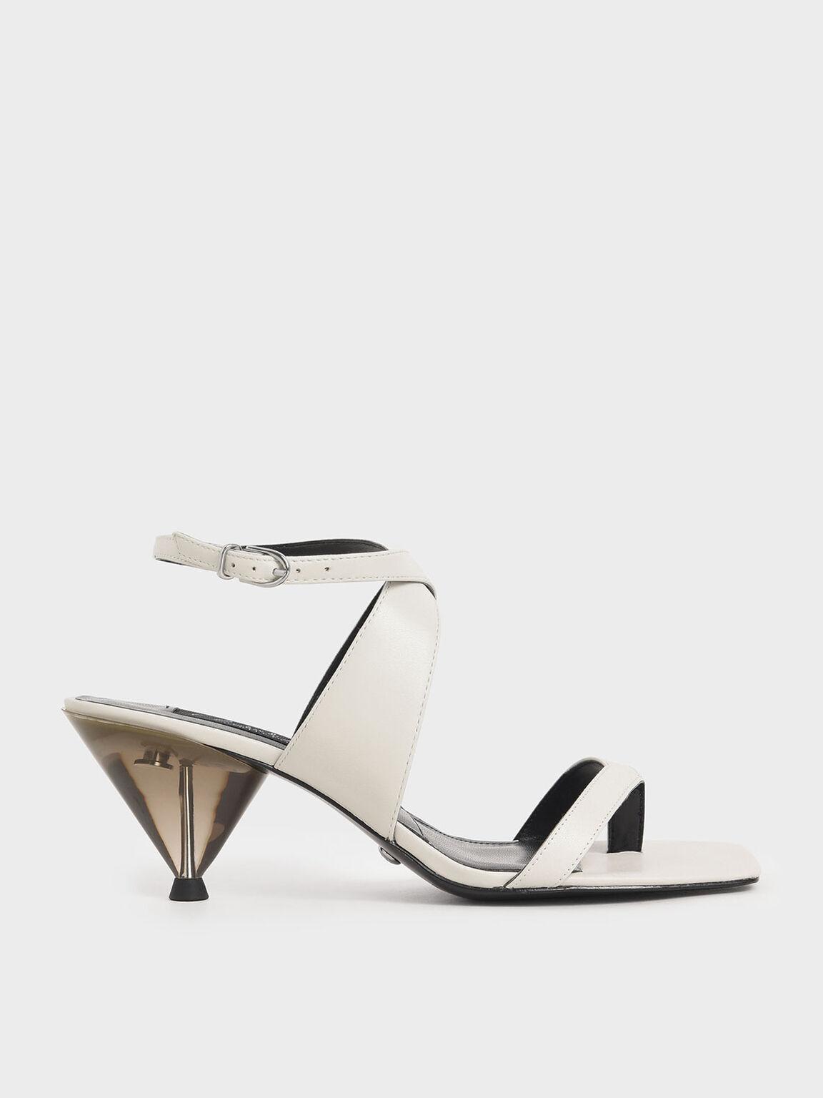 Leather Cone Heel Sandals, White, hi-res