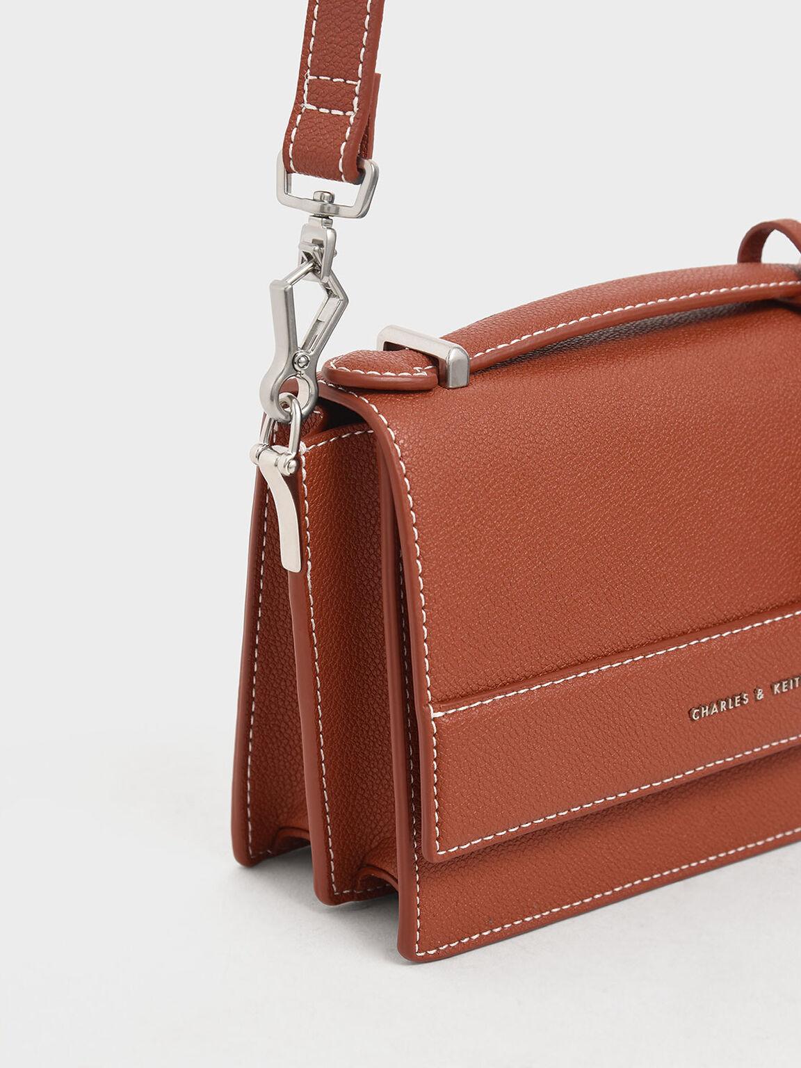 Front Flap Top Handle Bag, Cognac, hi-res