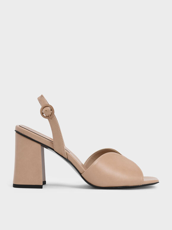 Open Toe Slingback Block Heel Sandals, Nude, hi-res