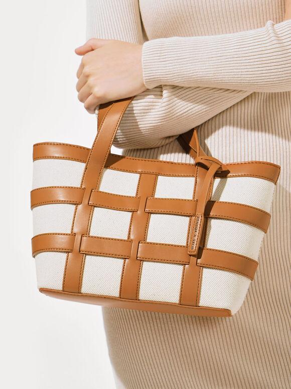 Caged Canvas Tote Bag, Beige, hi-res
