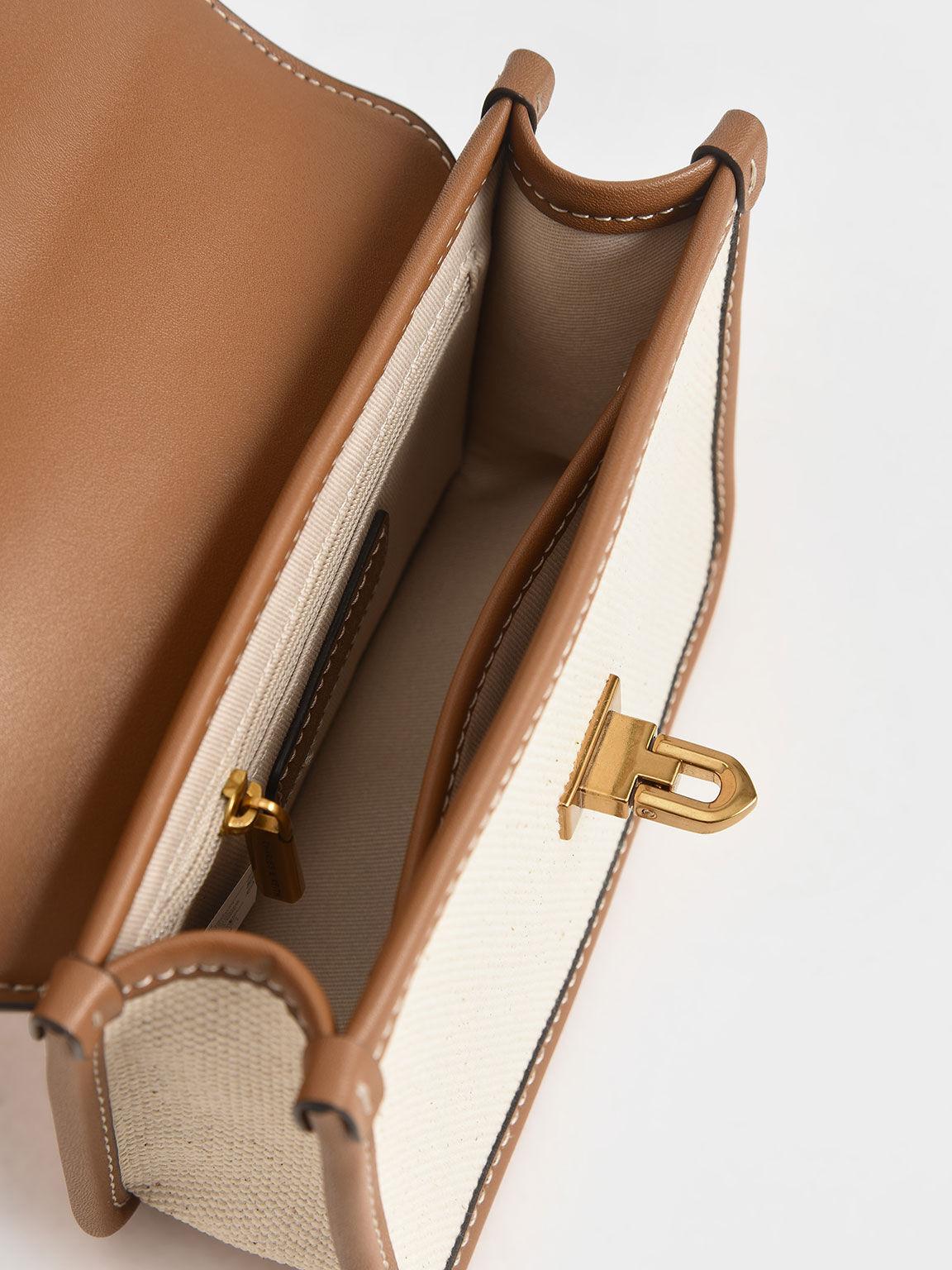 Canvas Metallic Turn-Lock Bag, Multi, hi-res