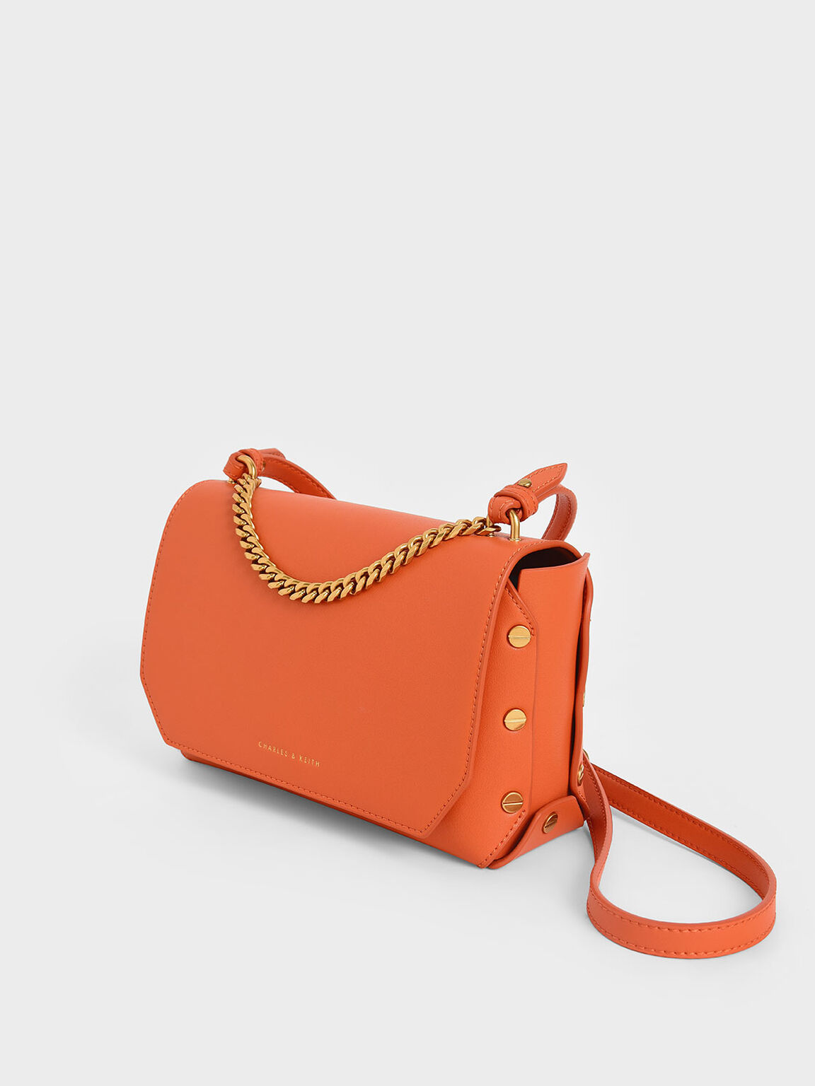 Studded Chain Link Shoulder Bag, Orange, hi-res