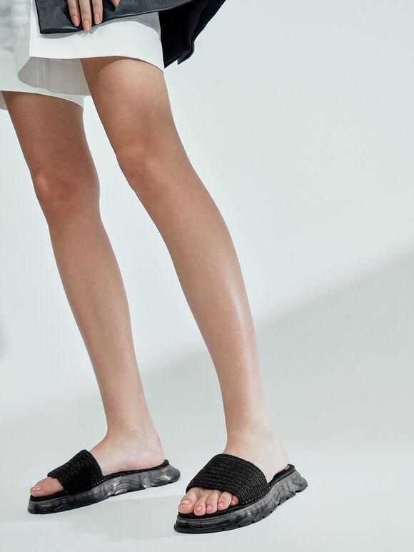 Espadrille Flatform Sandals, Black, hi-res