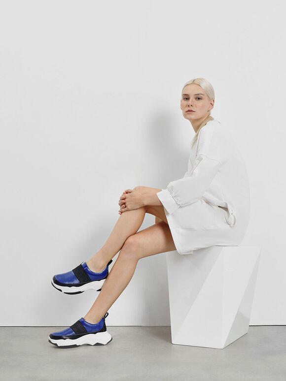 Chunky Slip-On Sneakers, Blue, hi-res