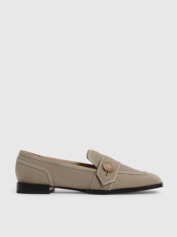 Button-Embellished Twill Loafers, Taupe, hi-res