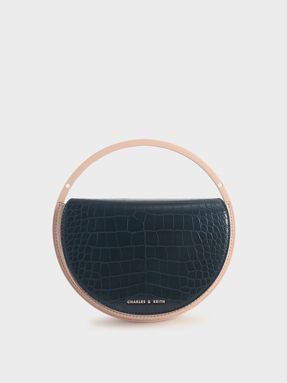 Croc-Effect Semi-Circle Clutch, Teal, hi-res