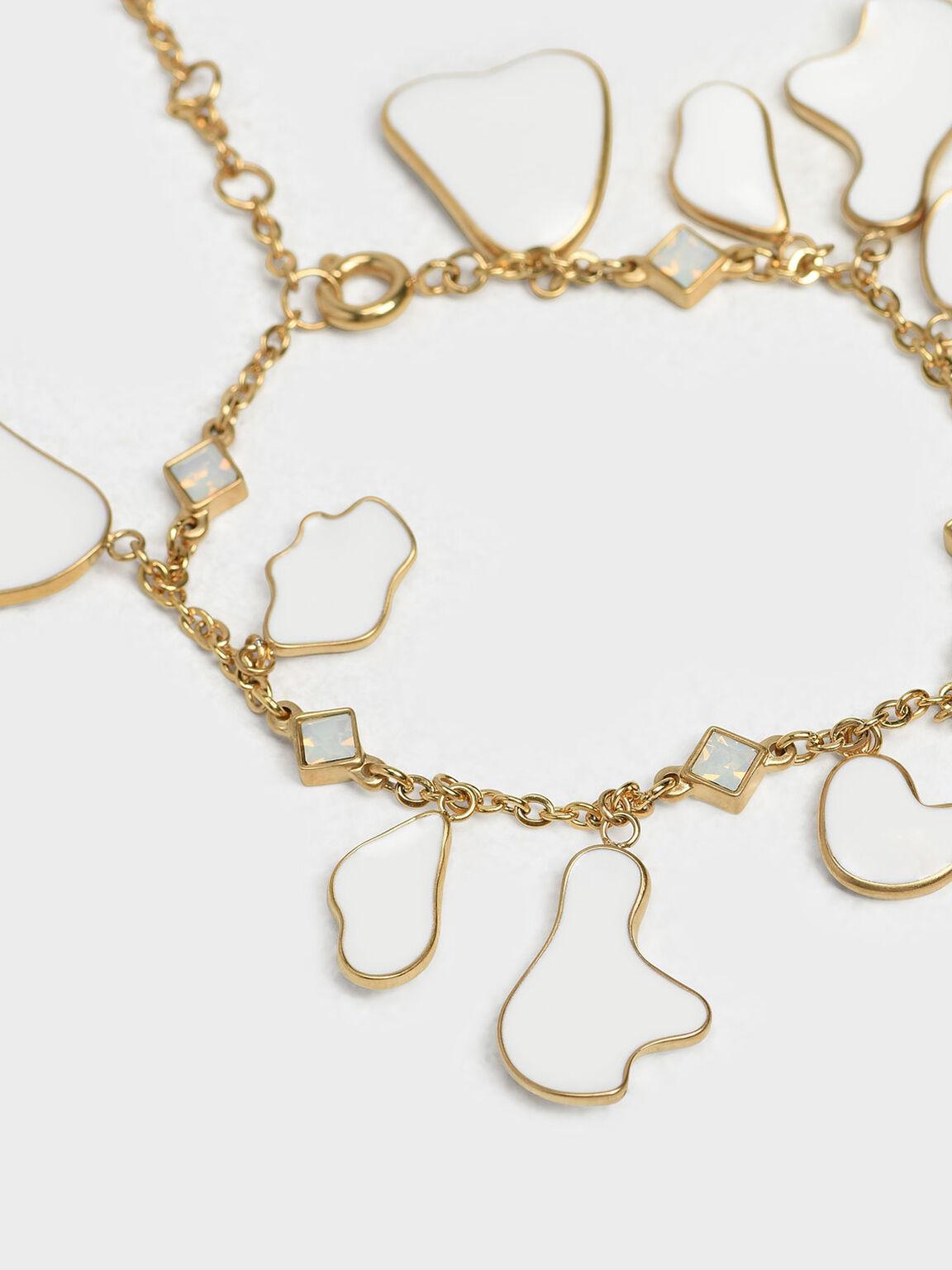 Crystal & Acrylic Petal Bracelet, White, hi-res