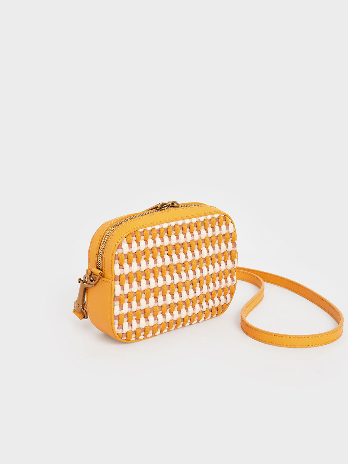 Multicoloured Woven Crossbody Bag, Mustard, hi-res