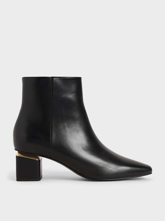 Block Heel Ankle Boots, Black, hi-res
