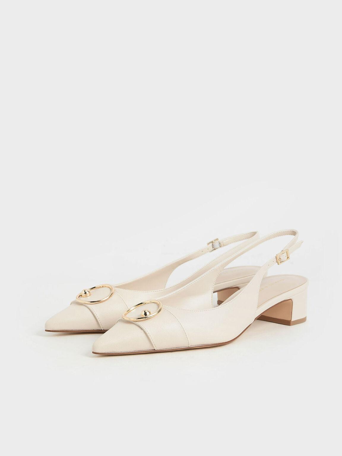 Ring Embellished Slingback Court Shoes, Chalk, hi-res