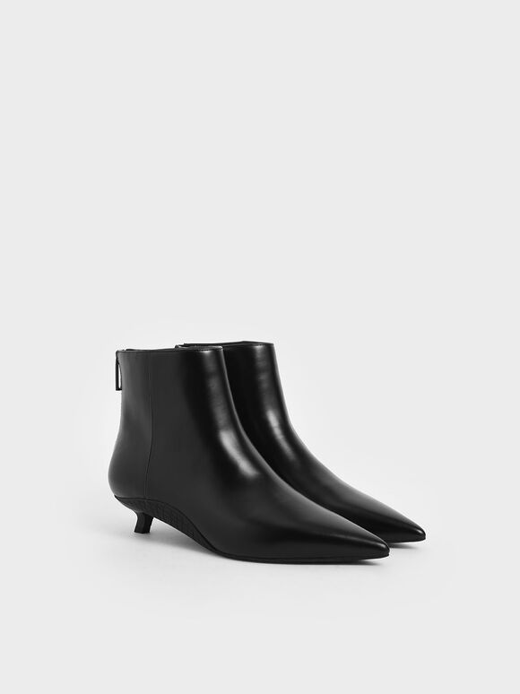 Kitten Heel Ankle Boots, Black, hi-res