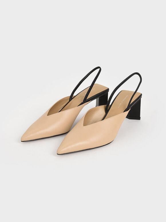 Blade Heel Slingback Court Shoes, Nude, hi-res