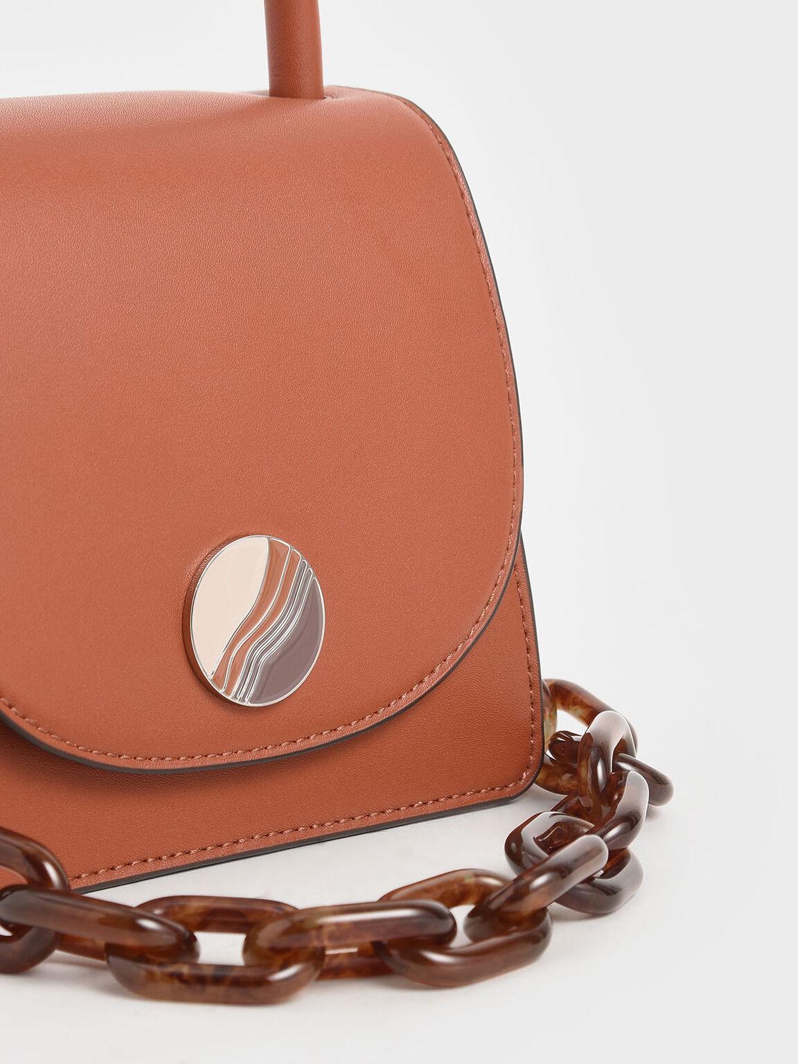 Tortoiseshell Chunky Chain Handle Mini Bag, Brick, hi-res