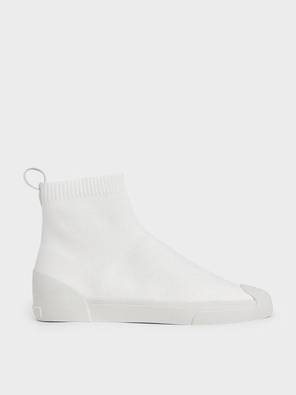 Knitted High Top Slip-On Sneakers, White, hi-res