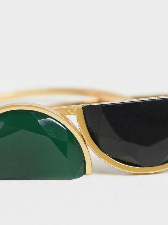 Black Marble Cuff Bracelet, Green, hi-res