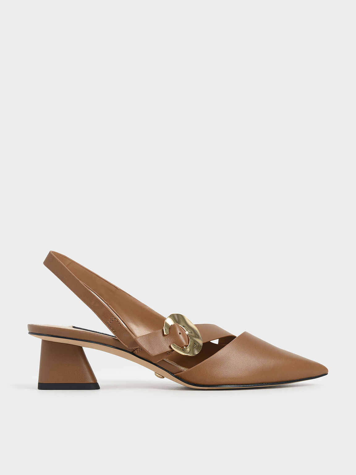 Leather Hammered Buckle Slingback Pumps, Brown, hi-res