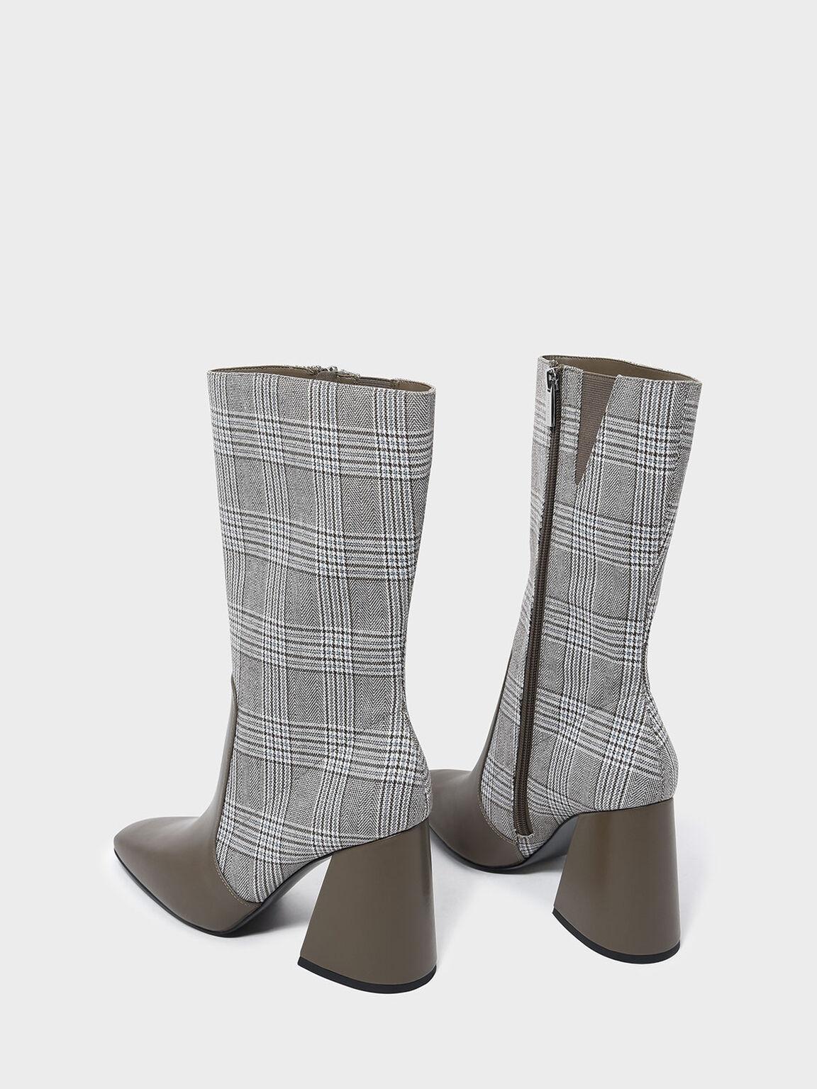 Square Toe Block Heel Boots, Olive, hi-res