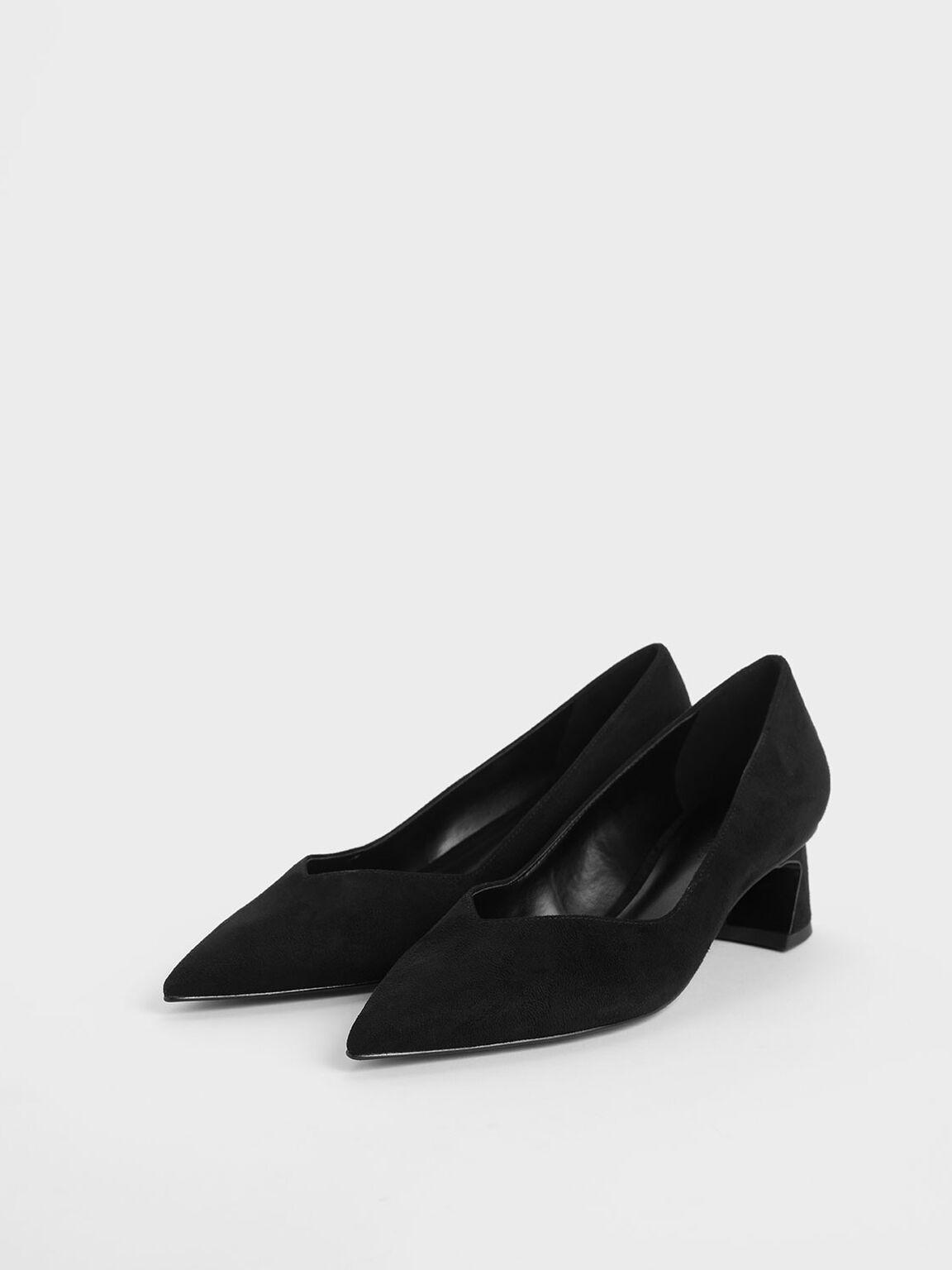 Curved Block Heel Textured Pumps, Black, hi-res