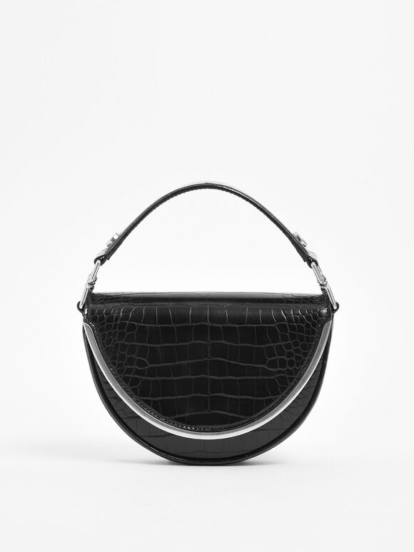 Croc-Effect Top Handle Semi-Circle Bag, Black, hi-res