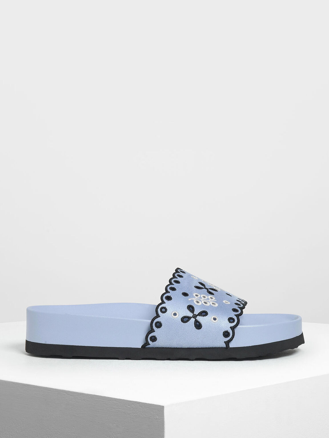 Scalloped Floral Suede Slide Sandals, Light Blue, hi-res