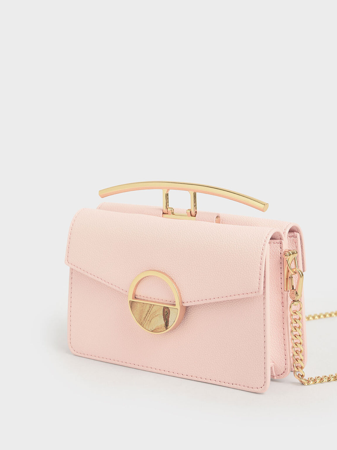 Stone Embellished-Buckle Shoulder Bag, Light Pink, hi-res