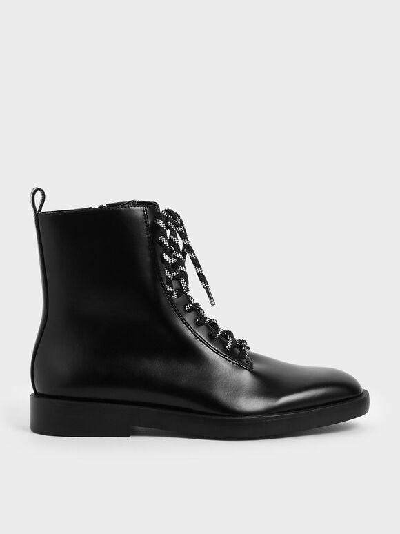 Lace-Up Ankle Boots, Black, hi-res