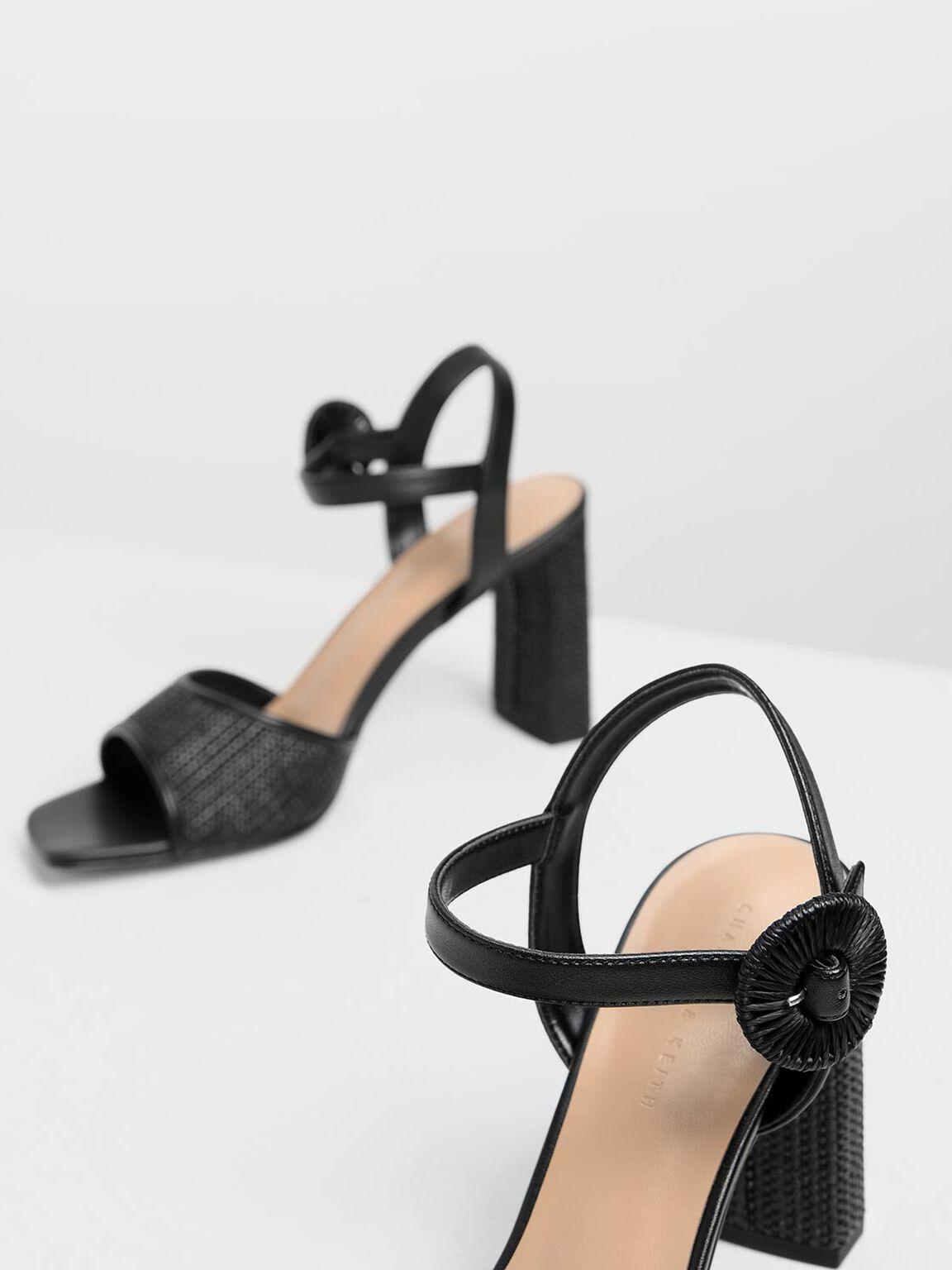 Raffia Buckle Heeled Sandals, Black, hi-res