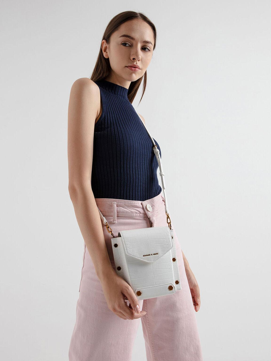 Croc-Effect Stud Detail Bag, White, hi-res
