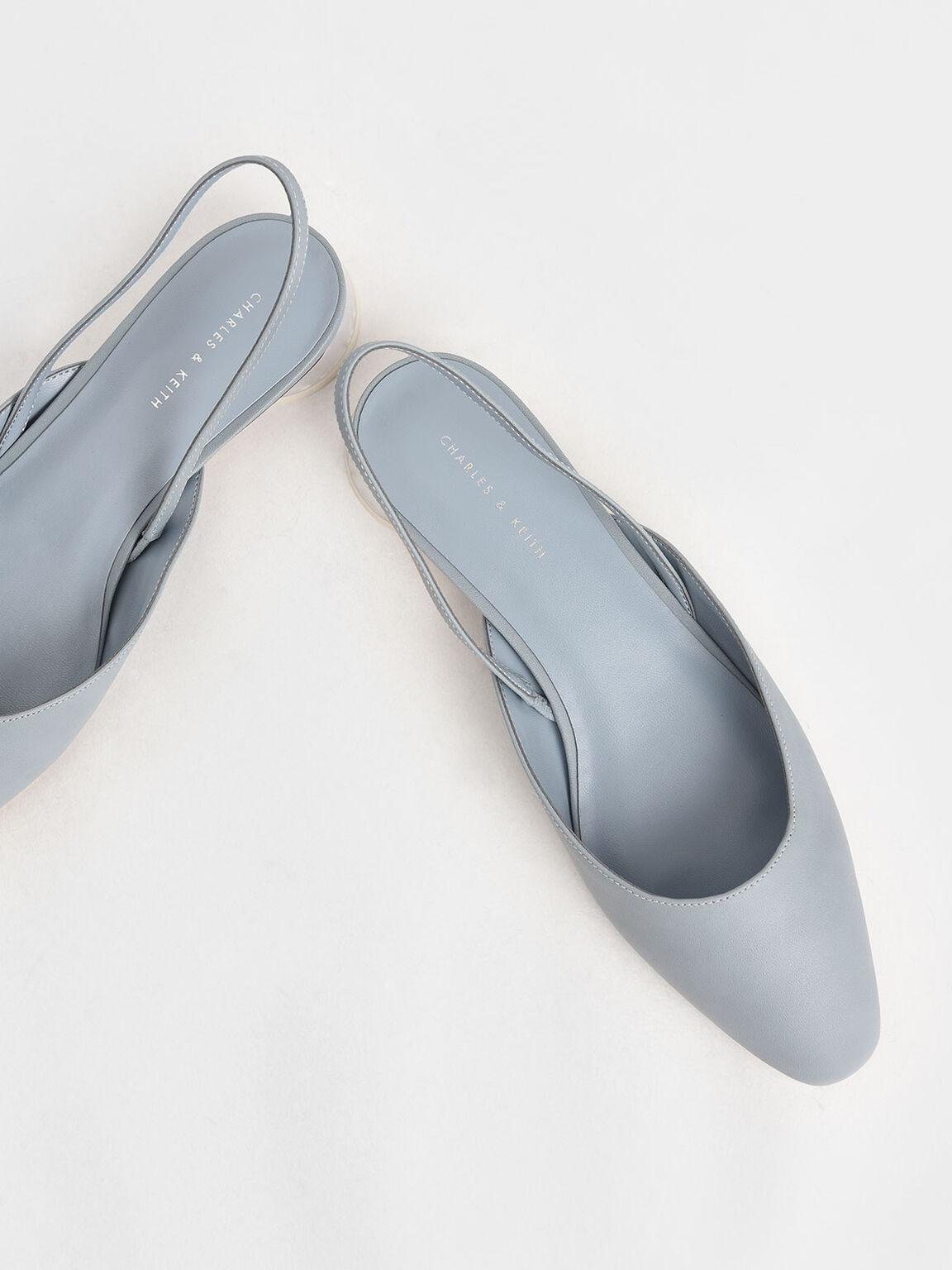 Cylindrical Heel Slingback Pumps, Light Blue, hi-res