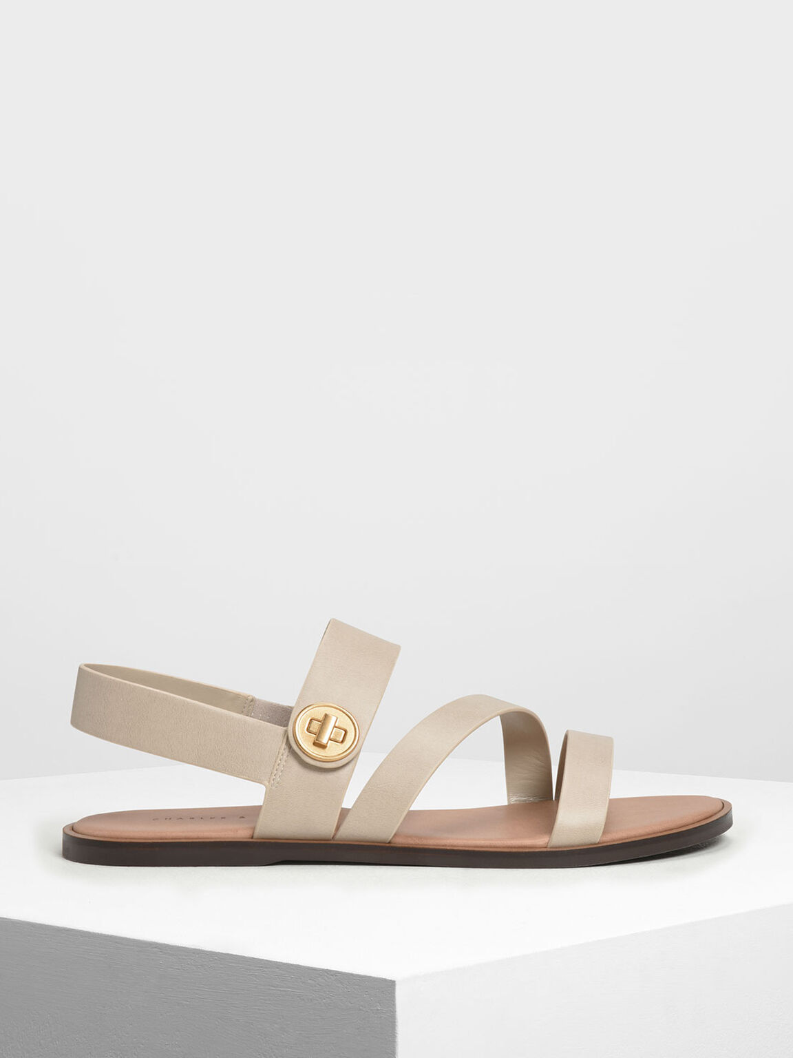 Asymmetrical Strappy Sandals, Chalk, hi-res