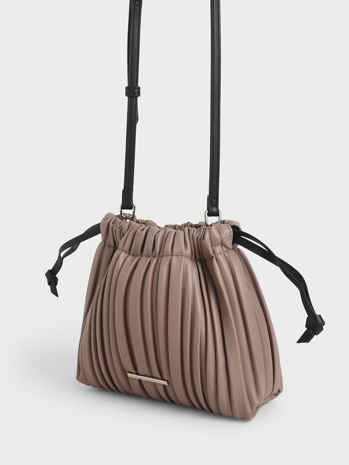Pleated Drawstring Bag, Mauve, hi-res