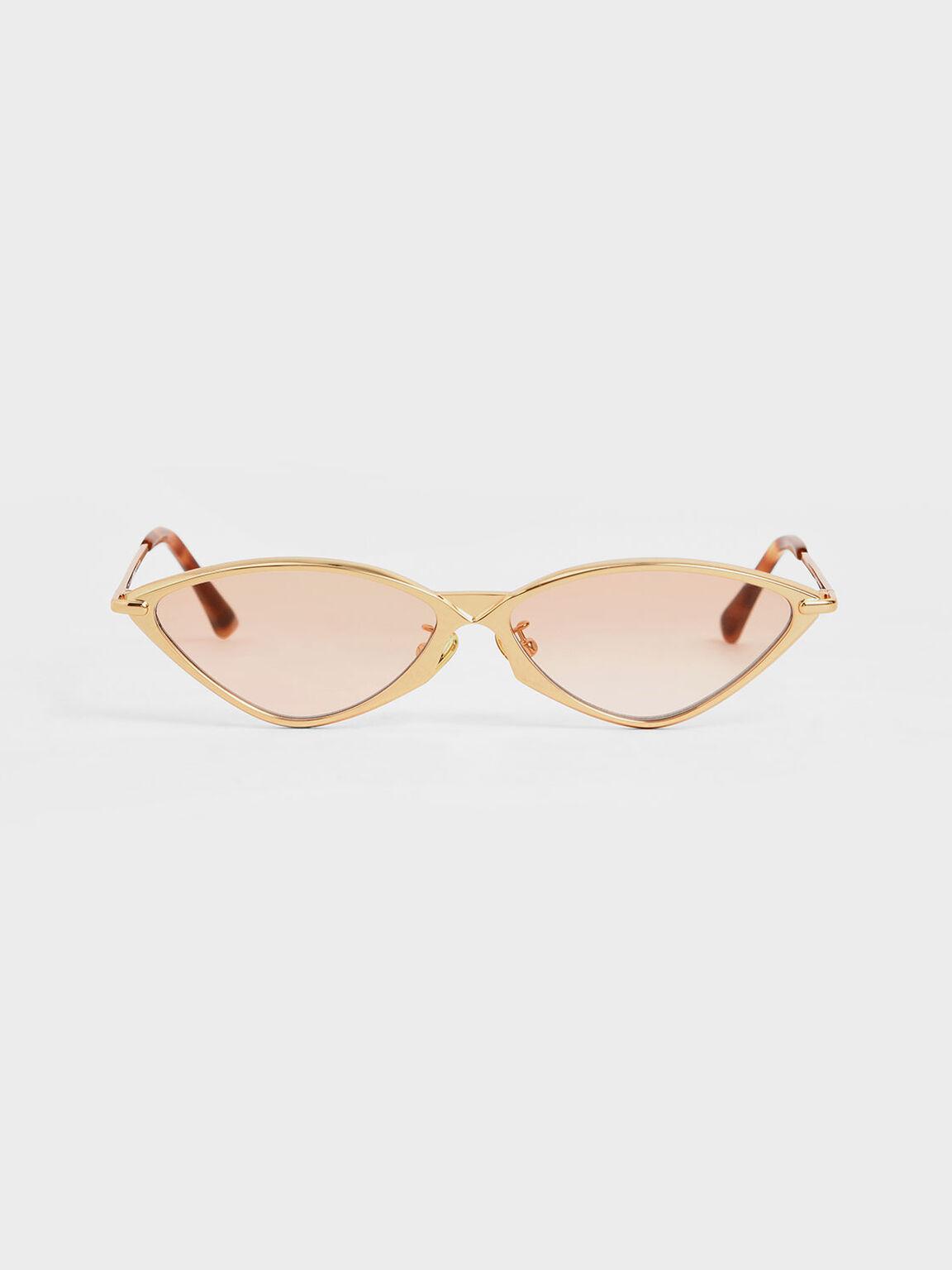 Metal Frame Cat-Eye Sunglasses, Orange, hi-res