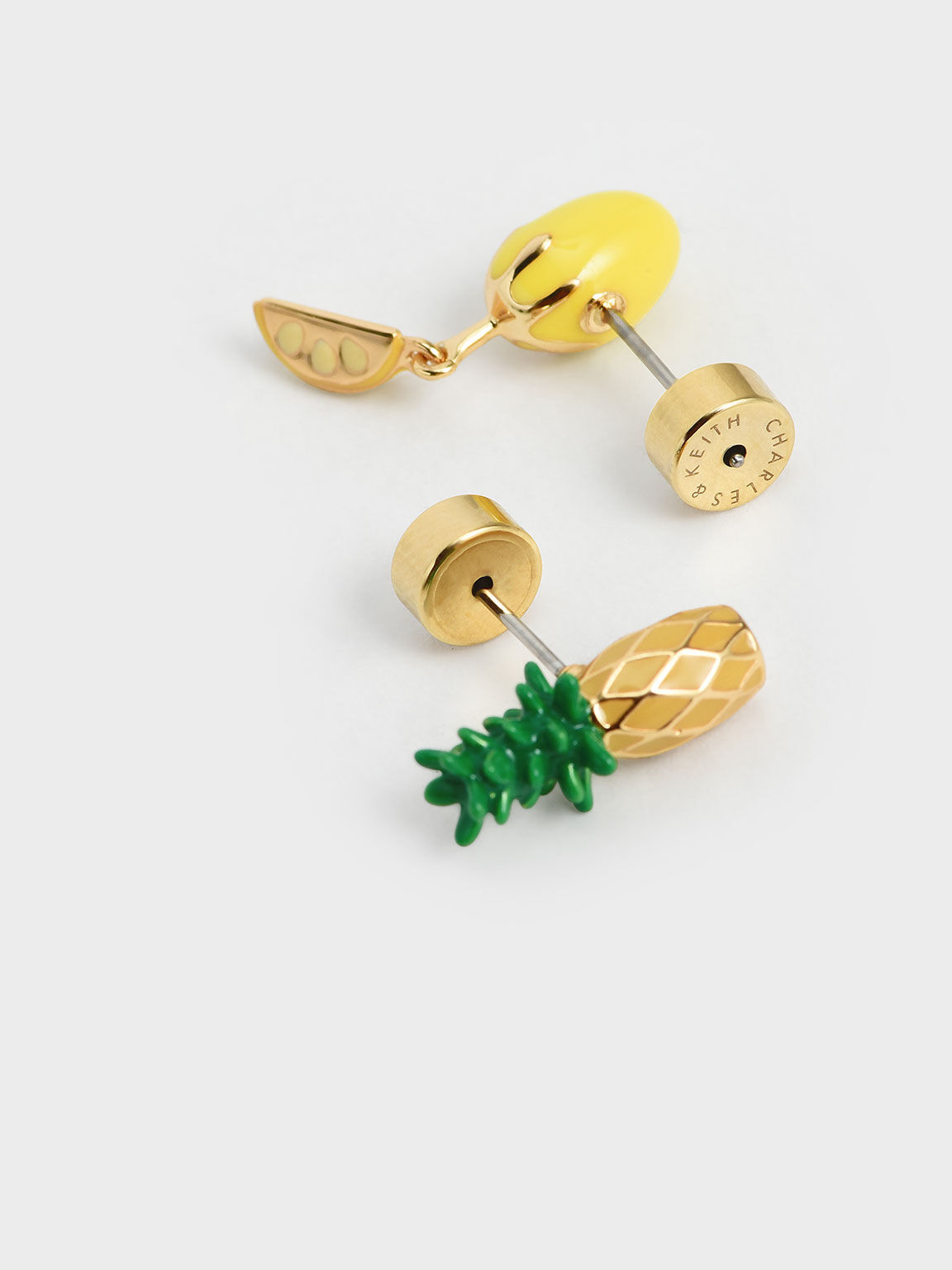 Fruits Stud Earrings, Yellow, hi-res