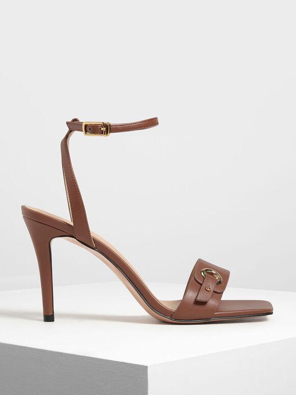 Gold Eyelet Detail Stiletto Heels, Brown, hi-res