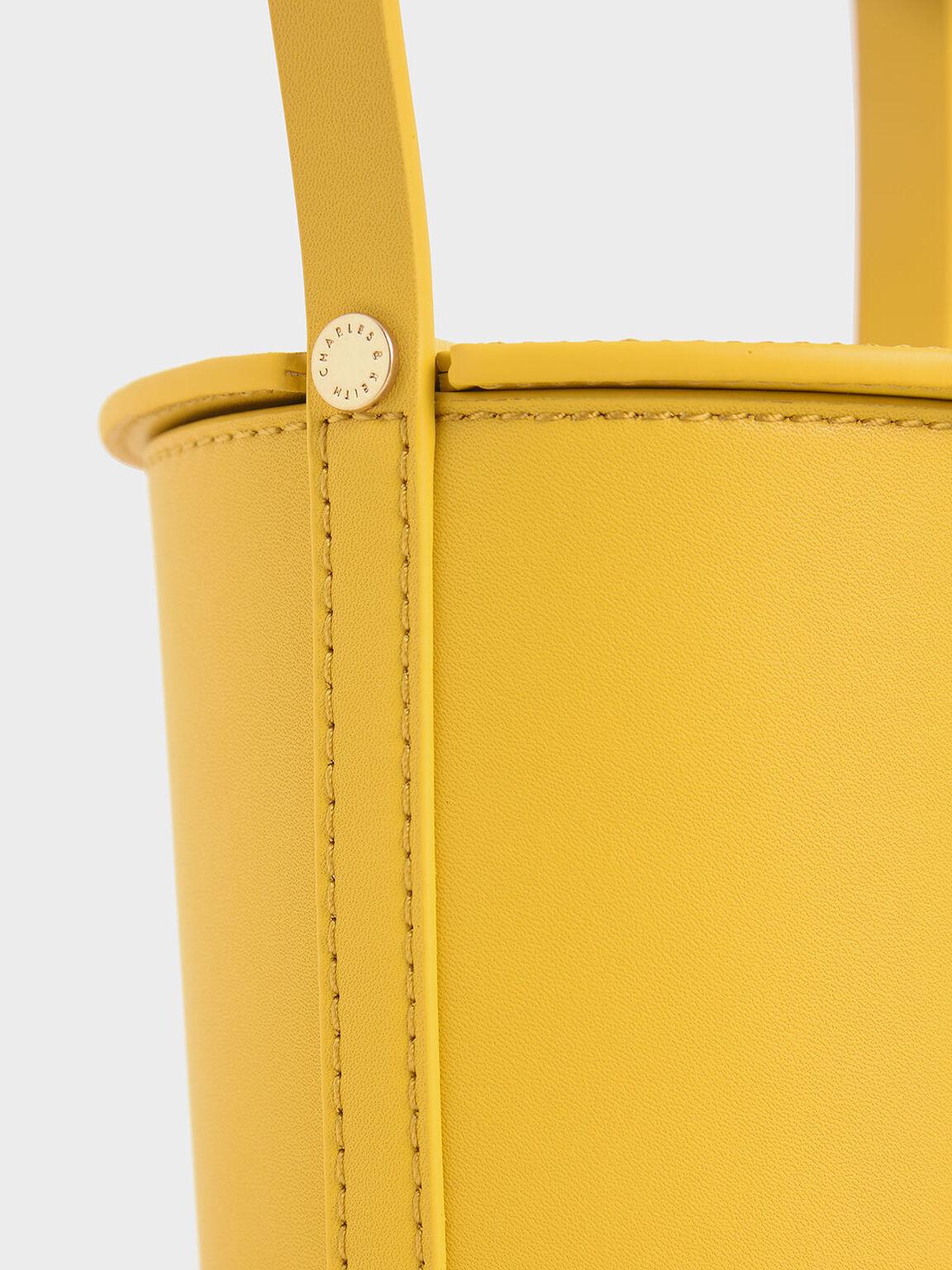 Cylindrical Bucket Bag, Yellow, hi-res