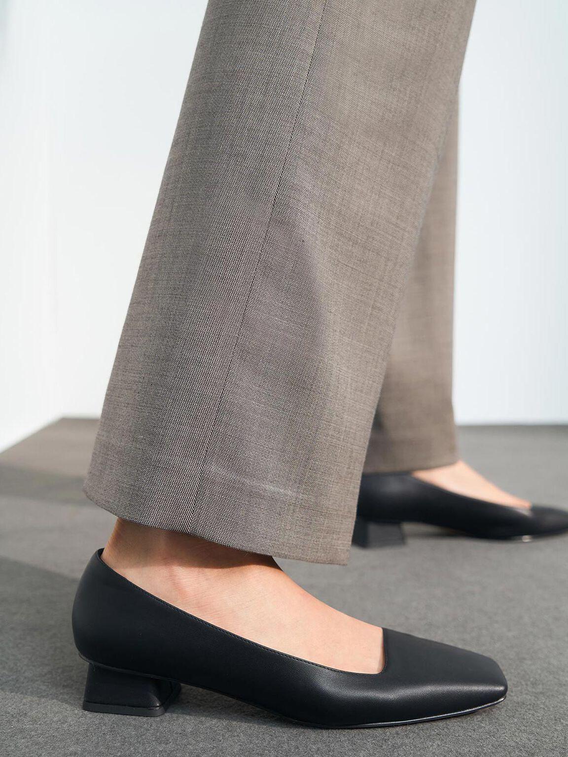 Square Toe Court Shoes, Black, hi-res