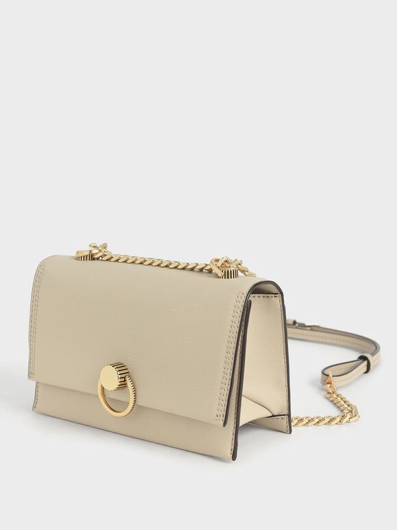 Ring Push-Lock Shoulder Bag, Ivory, hi-res