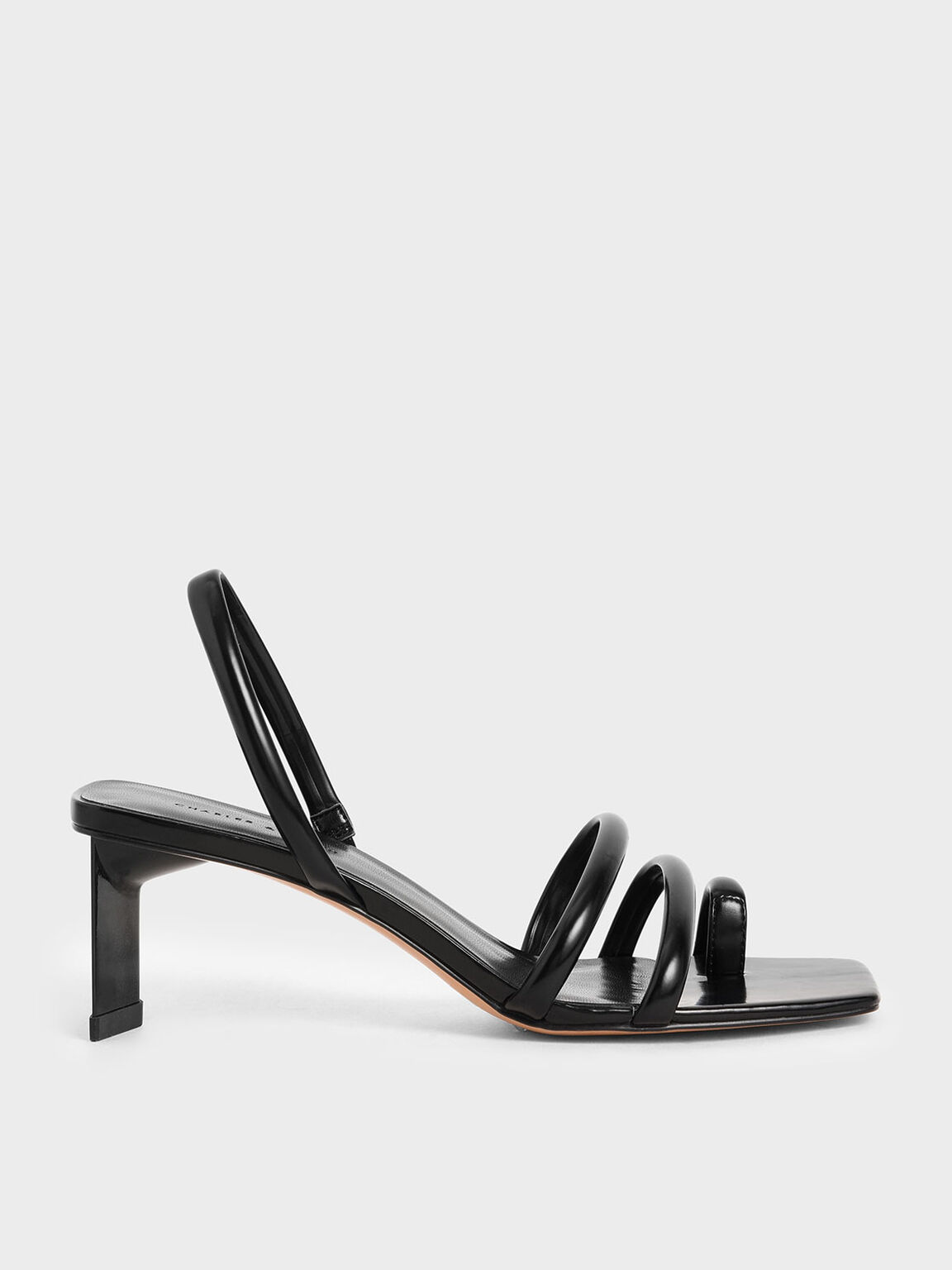 Toe Loop Strappy Slingback Heels, Black, hi-res