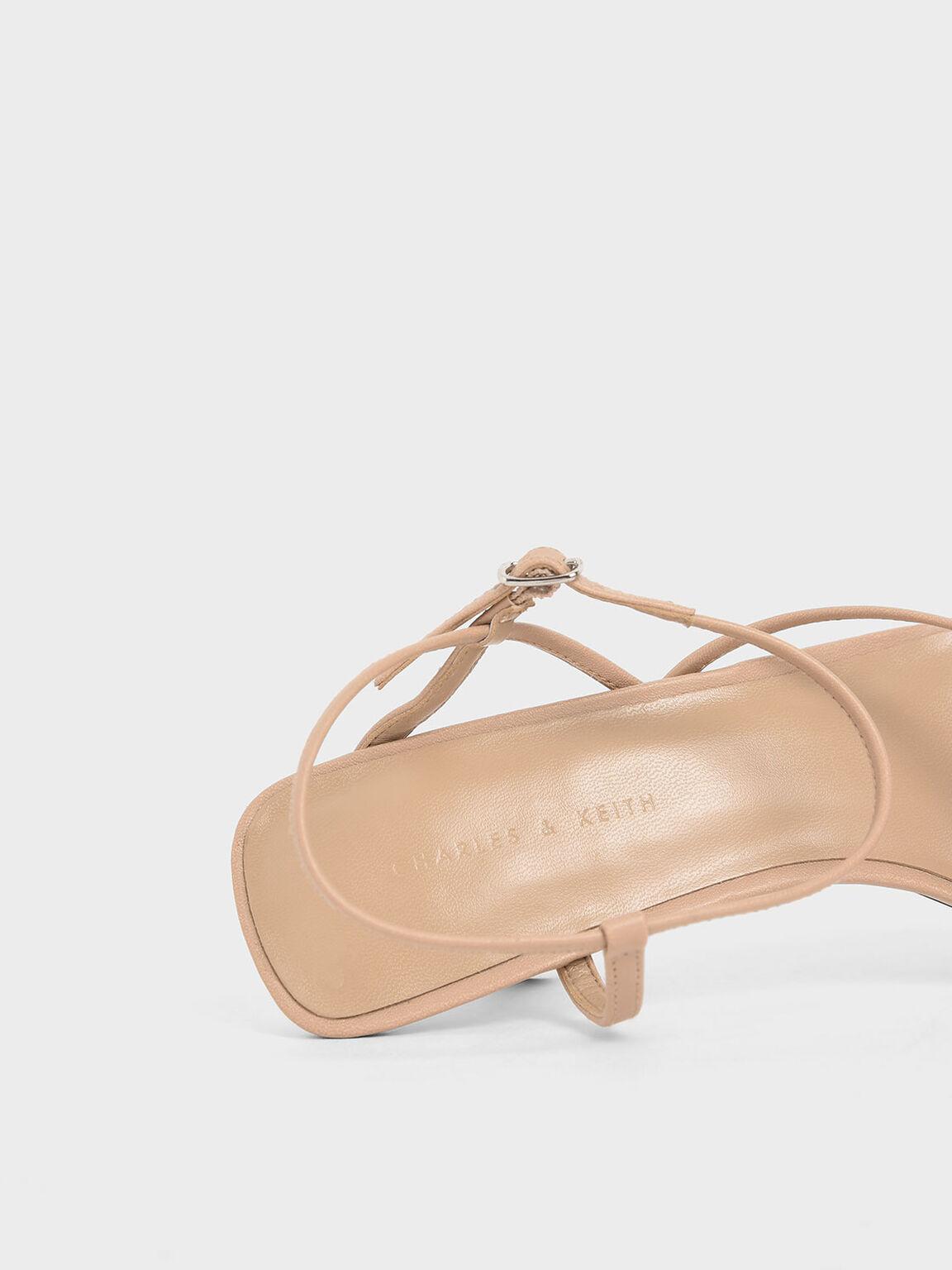 Strappy Sculptural Heel Sandals, Nude, hi-res