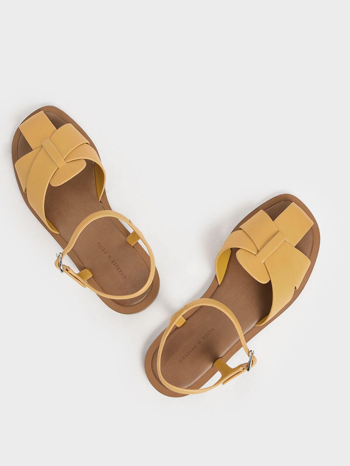 Peep Toe Flat Sandals, Mustard, hi-res