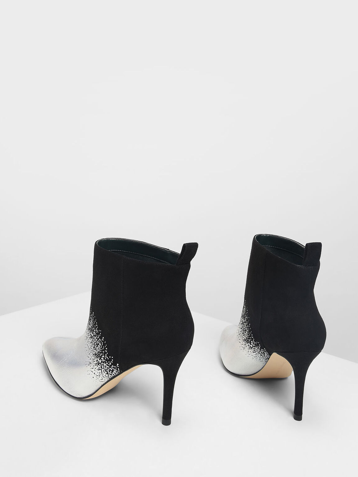 Pointed Toe Stiletto Ankle Boots, Black Textured, hi-res